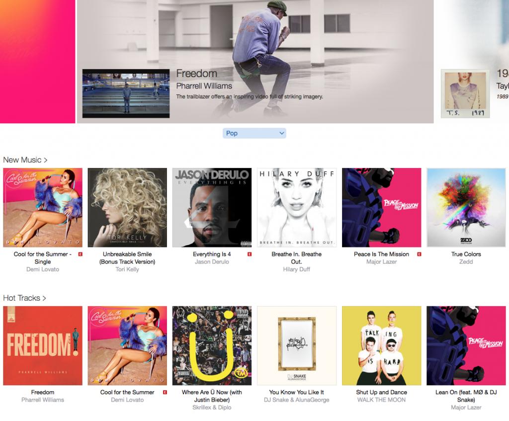 Apple Music organiza los temas por género, por artista.