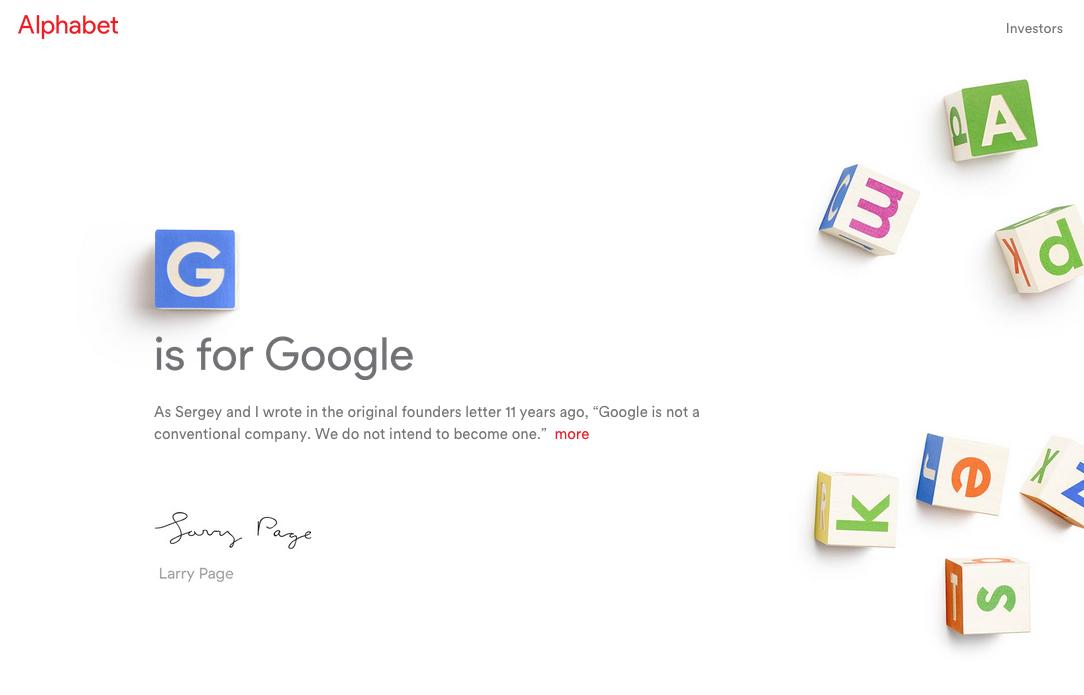 Un Alphabet donde la G es para Google